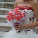 Peach & Net Bouquet Wedding Flowers London