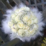 White & Silver Feather Edge Wedding Bouquet London