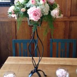 Pink Wedding Flowers with Wrought Iron Table Centre