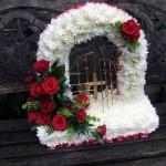 Gates of Heaven Funeral Floral Tribute with Red Roses