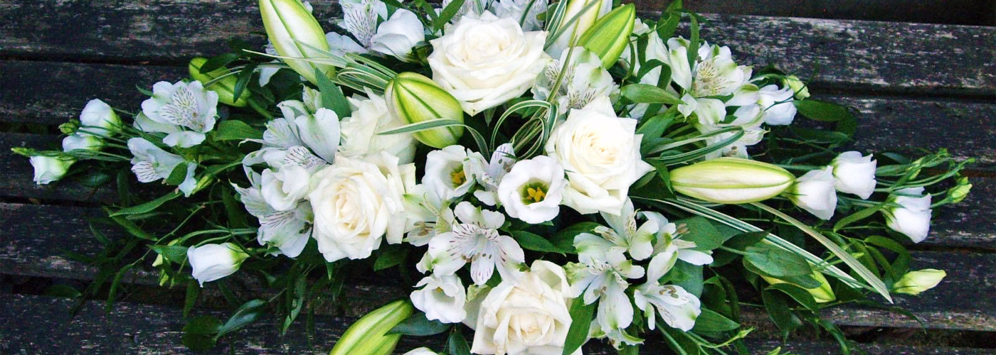 White Double Ended Spray Funeral Flowers