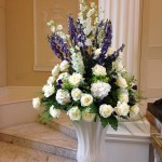 Blue & White Pedestal Wedding Flowers, Syon Park London