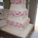 Wedding Cake with Pink Roses London